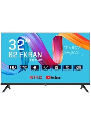"Saba Saba SB32F150 32"" 82 Ekran Uydu Alıcılı Hd Smart Android LED Tv İnternetli Televizyon Siyah"